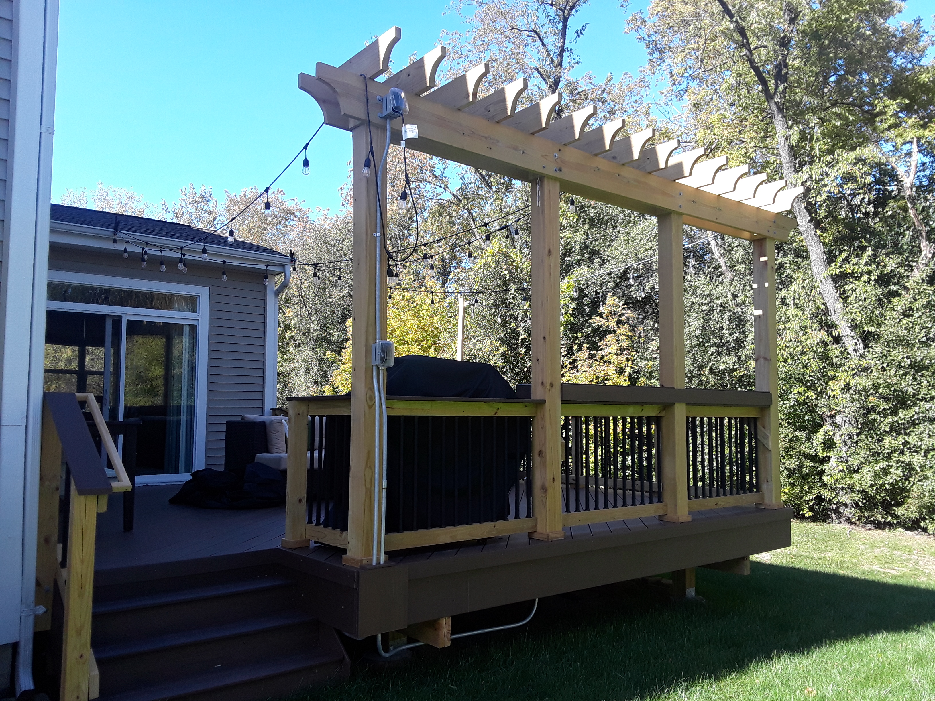 Mocha TimberTech Deck with Rail Pergola in Winfield, IL Thumbnail