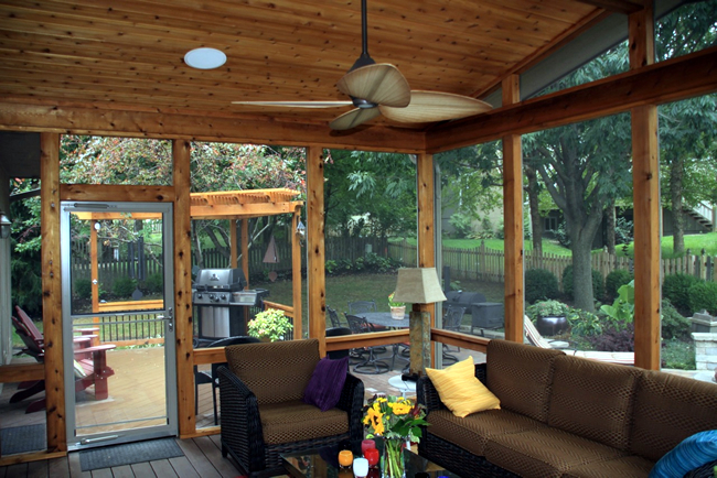 Leawood Ks Screen Porch With Custom Pella Doors Azek Deck