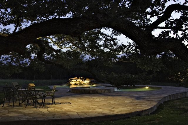 Outdoor lighting illuminates patio and surrounding trees