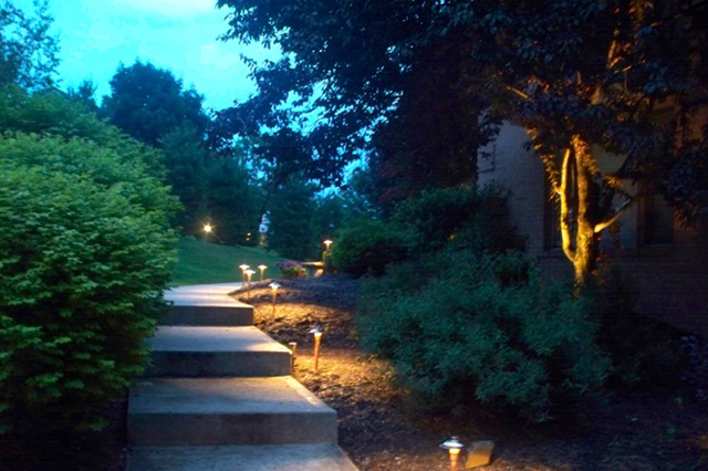 Path lighting safely illuminates stairs