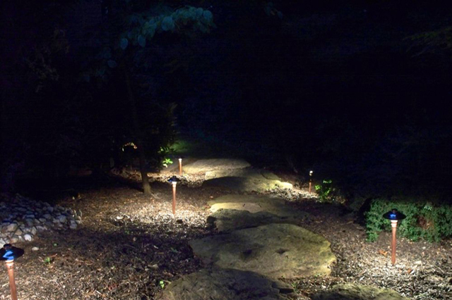 Path lighting highlights stepping stones
