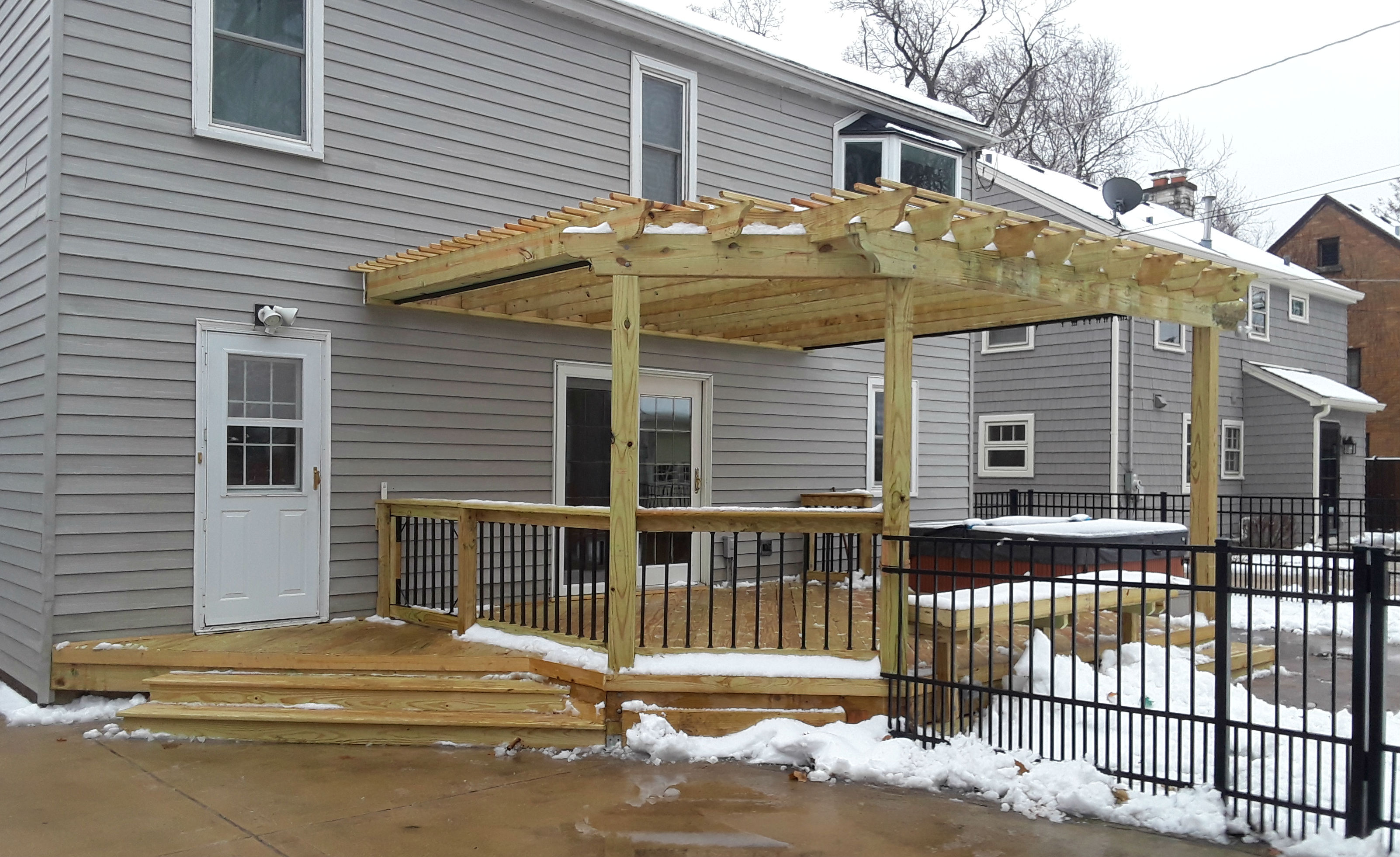 Pressure Treated Pine Deck & Pergola with Belgard Patio in Aurora, IL  Thumbnail