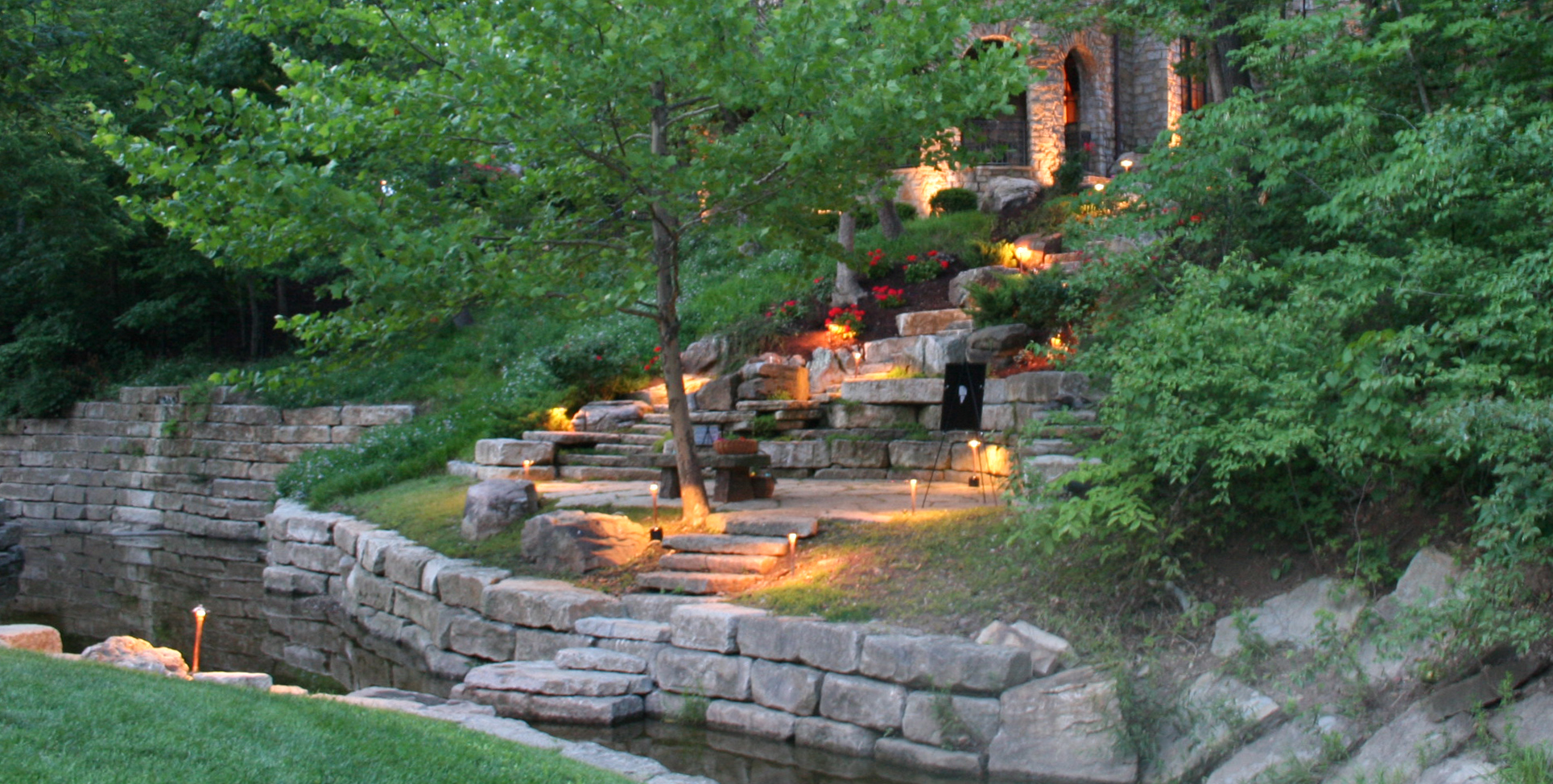 custom landscape lighting ideas. Kirkland Garden And Stream Lighting Custom Landscape Ideas