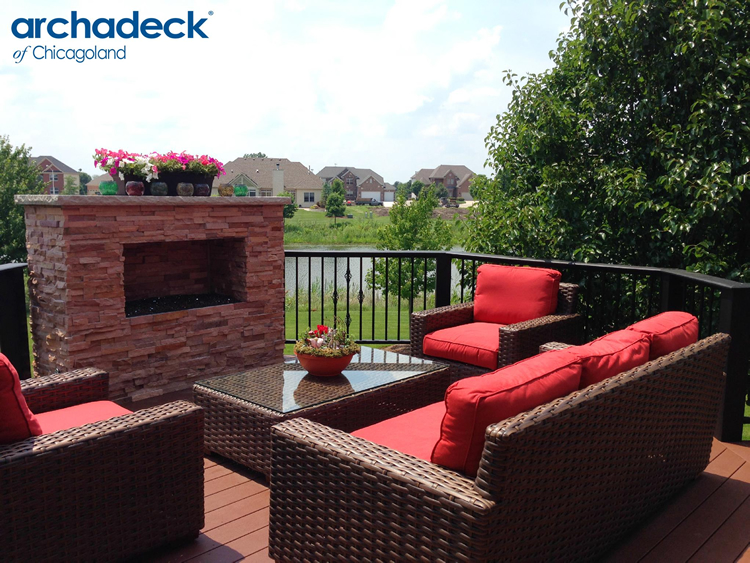Naperville deck with fireplace