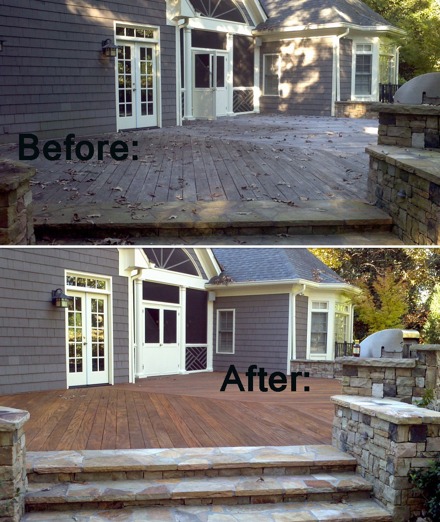 deck cleaning before and after pictures Renew Crew Charlotte