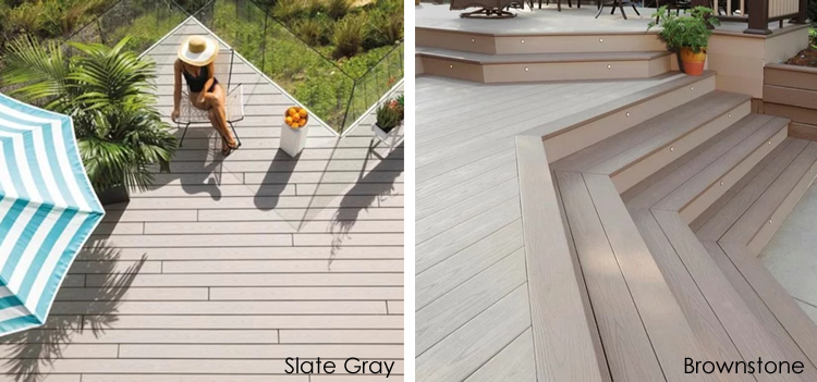 AZEK Harvest slate gray and brownstone decking