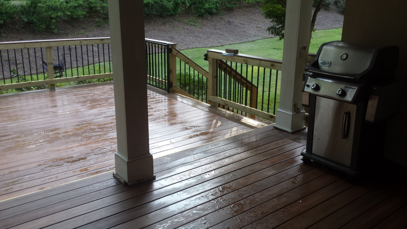 Custom backyard deck with staircase