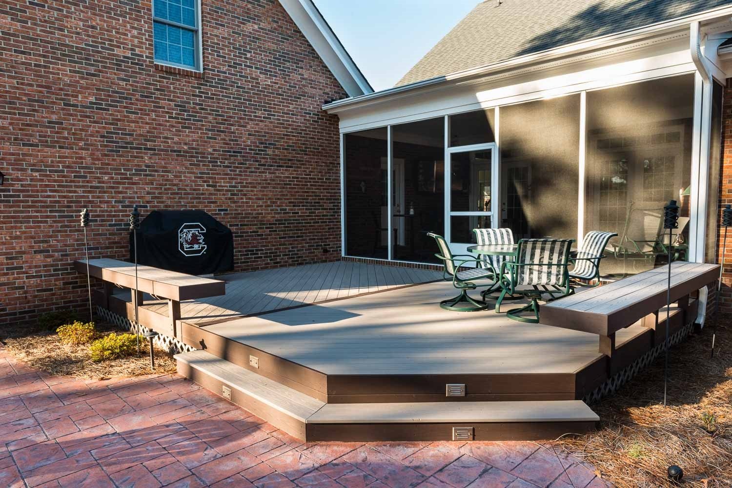 Screened-porch-and-low-to-grade-deck-combination