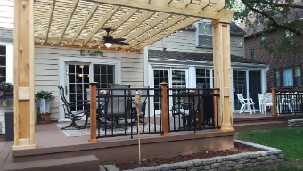 TimberTech Deck with Pergola and Belgard Paver Patio by Aurora, IL Deck, Pergola and Patio Builder.  Thumbnail