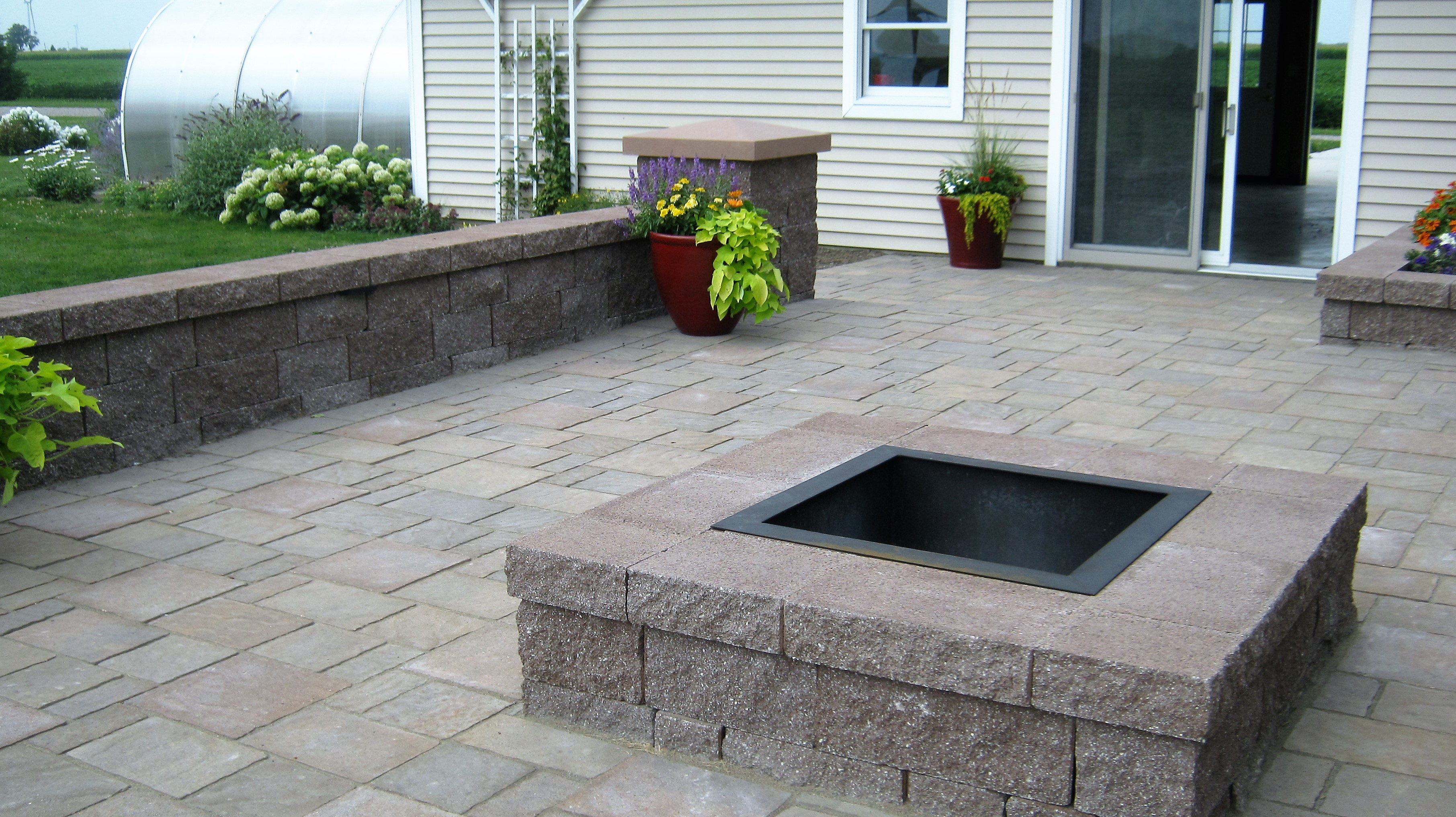paver patio with gas fire pit stone patio with outdoor fireplace