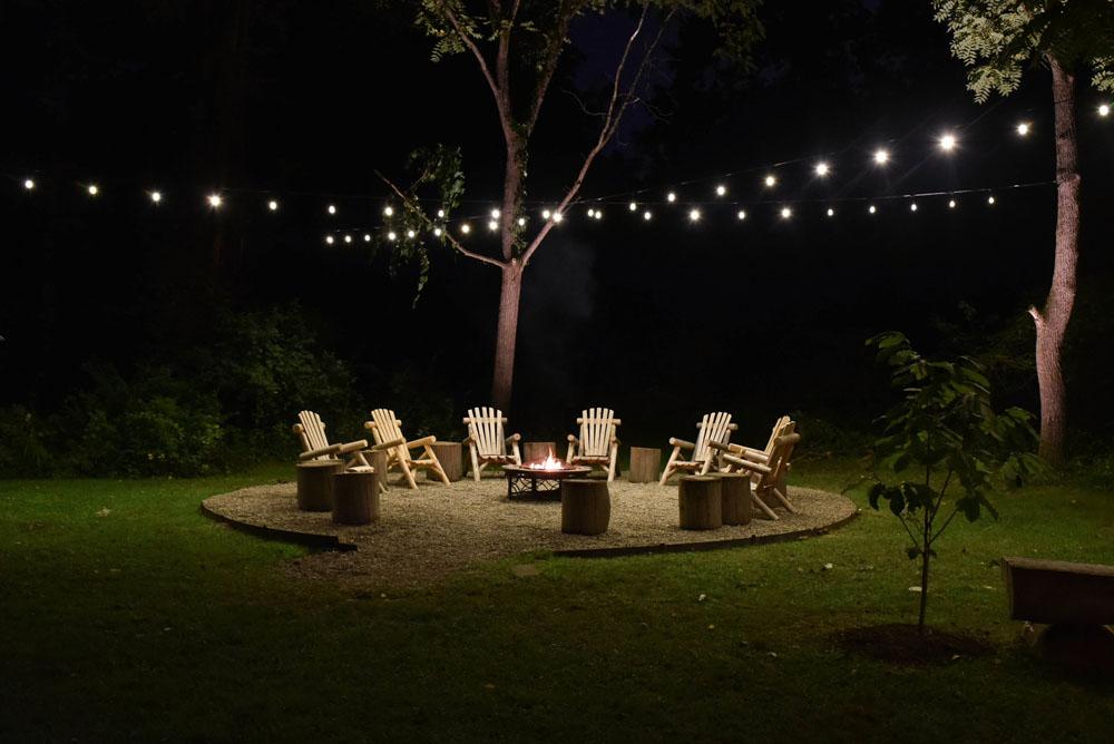 backyard bistro light installation