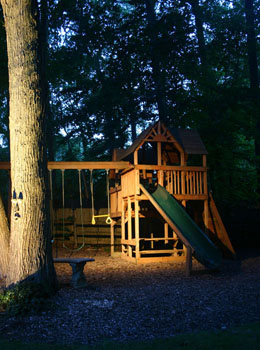 Moonlighting illuminates a play area