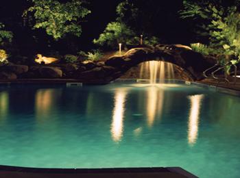 Waterfall lighting on rocks - Outdoor lighting