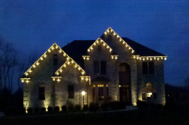 Roofline lighting decorates for Holidays