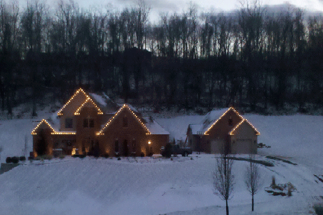 Outdoor Holiday Lighting design as the sun sets