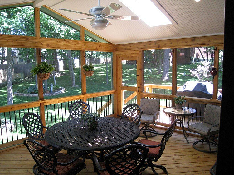screened porch with skylights