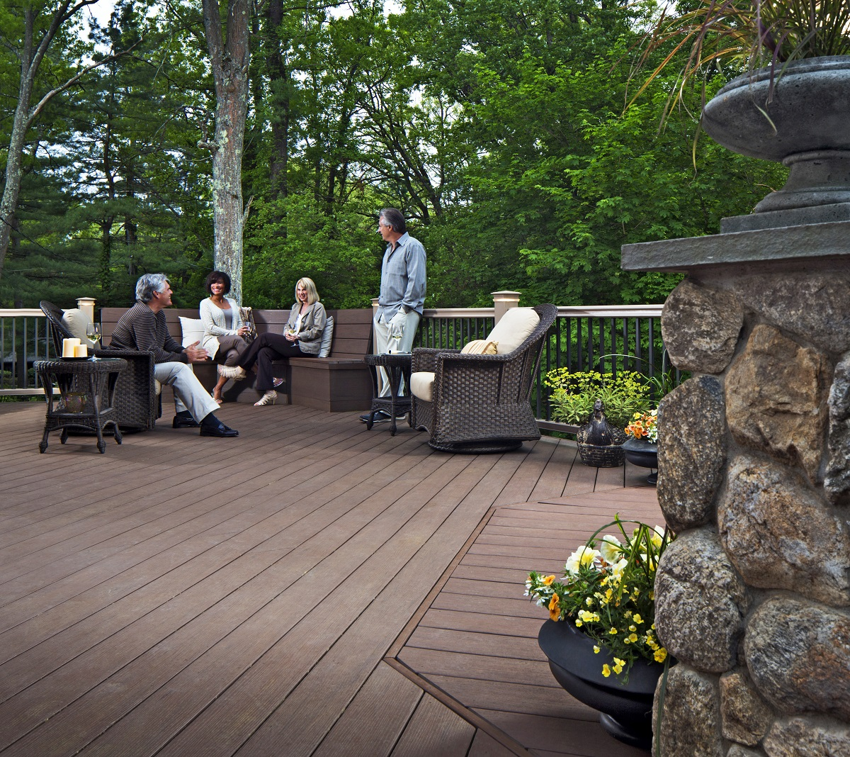 Outdoor patio deck with furniture
