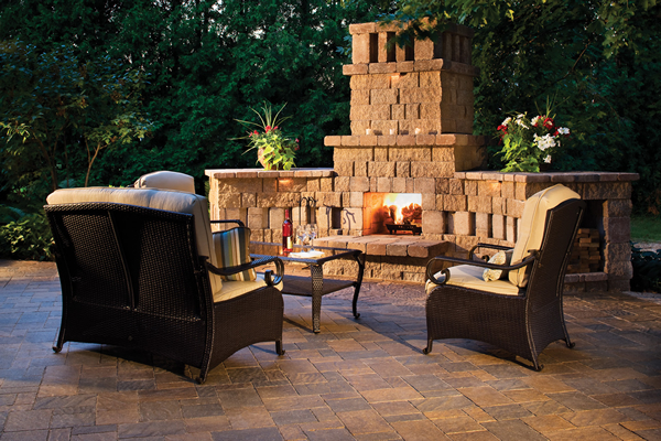 patio with outdoor fireplace
