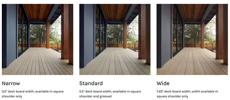 board widths Charlotte decks