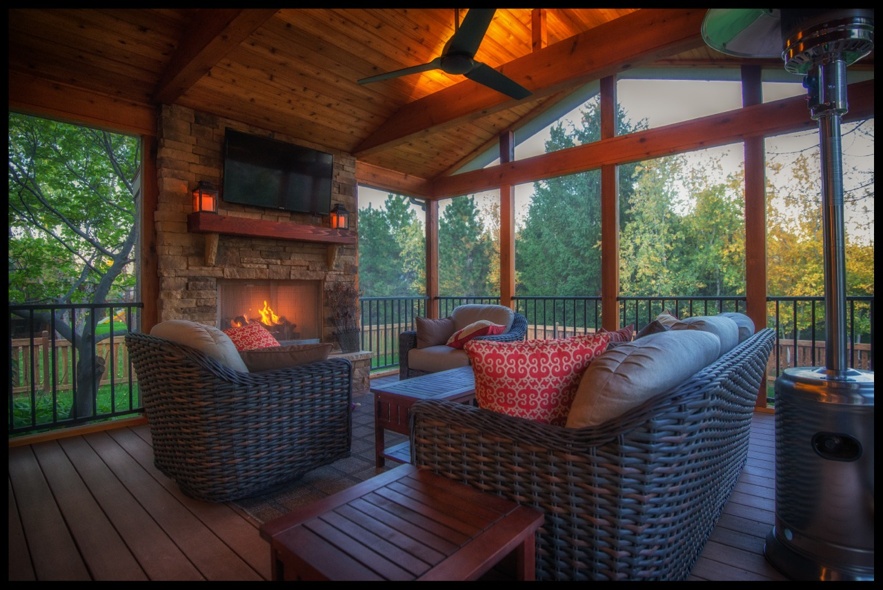 Can you really have a tv on your screened porch what for Wood burning stove for screened porch