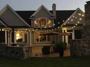 permanent overhead string lighting