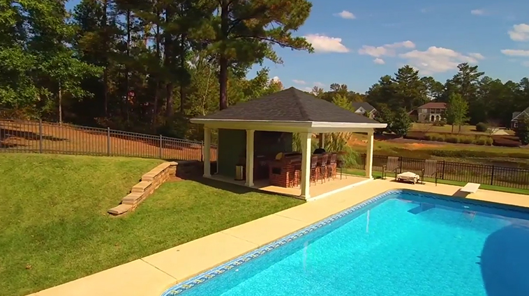 Macon Pool Cabana Drone Video. Enjoy This Pool-Side Space From All Angles. Thumbnail