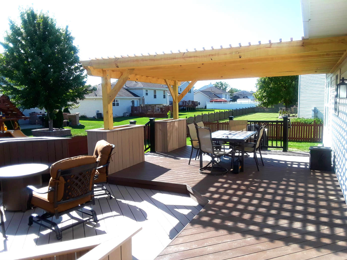 Spacious Timber Tech Deck with Belgard Patio and Pergola in Plainfield, IL Thumbnail