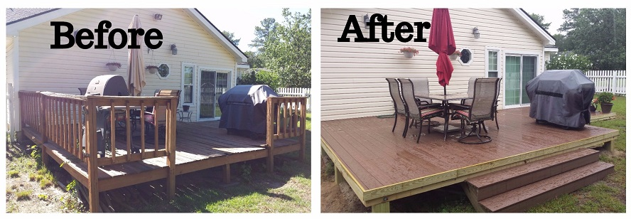 Before and after image of backyard deck with outdoor kitchen