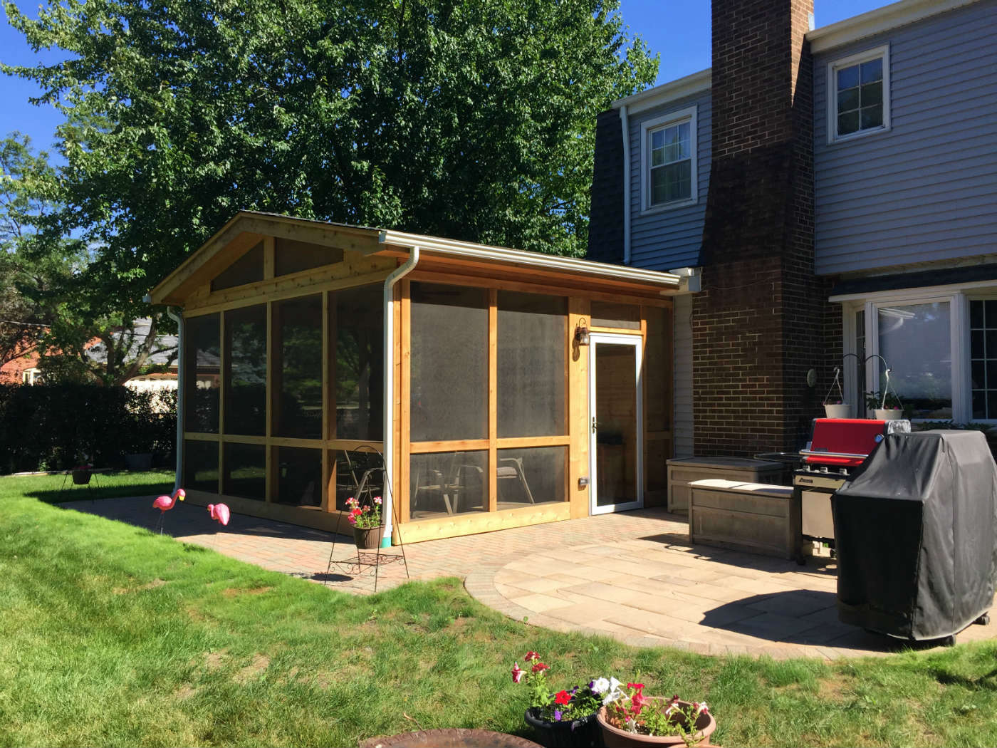 This Combined Screened Porch And Belgard Paver Patio Creates Plenty Of Room  For The Home Owners To Enjoy Grilling On Sunny Afternoons As Well As An  Enclosed ...