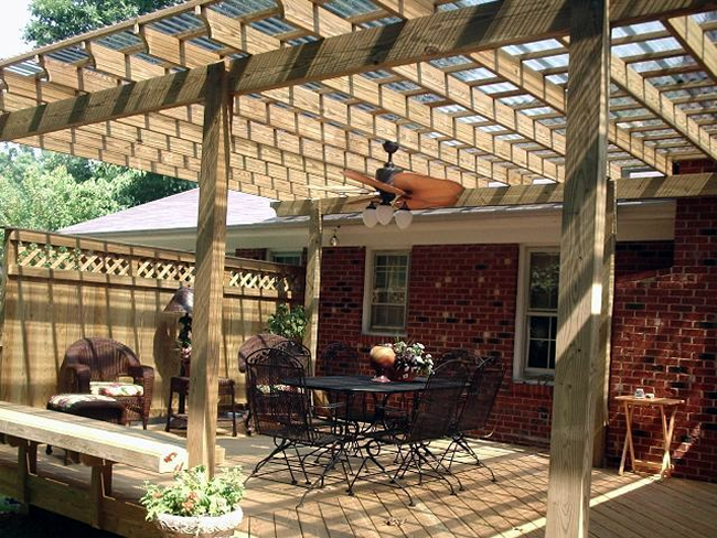 Winston-Salem wood deck and pergola