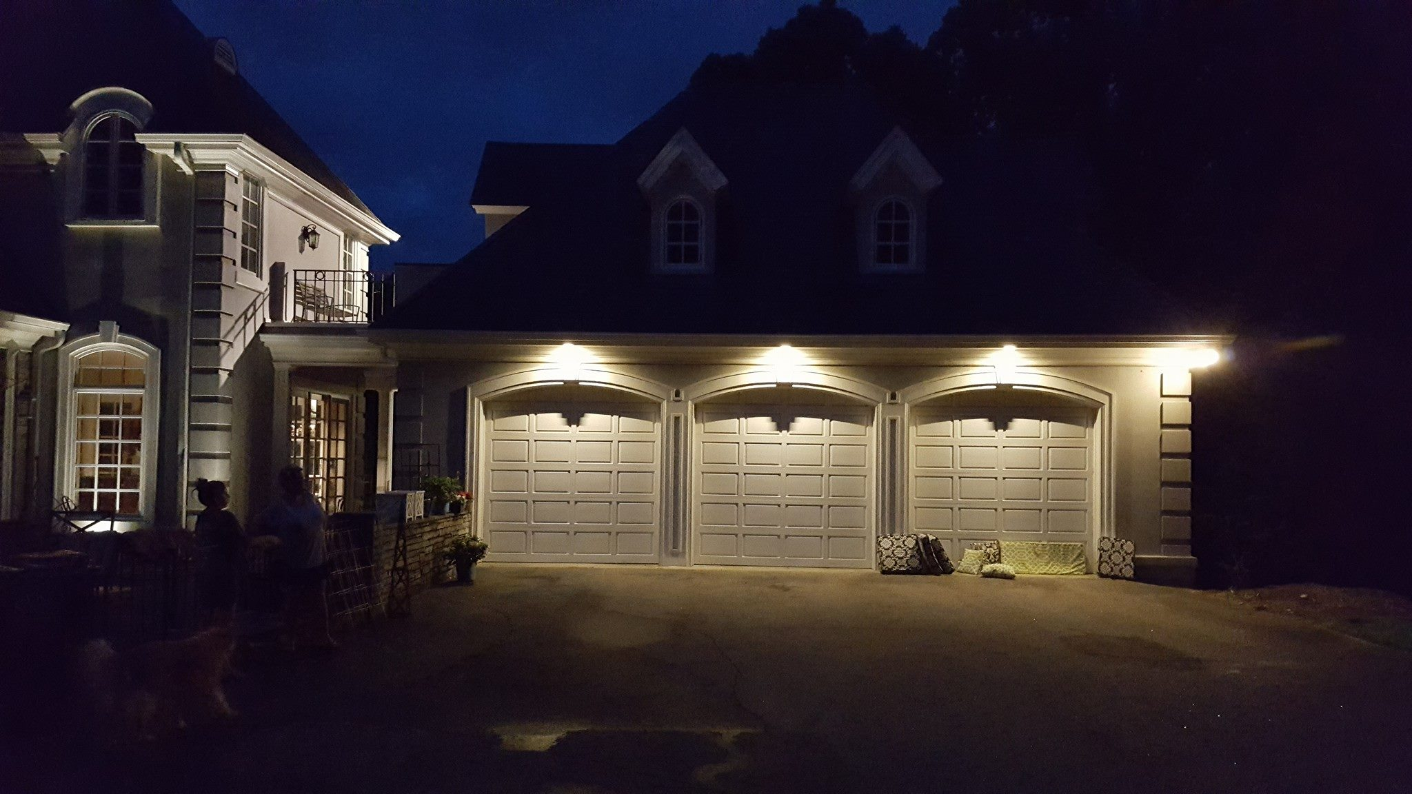 Above Is An Example Of Outdoor Lighting Customization. As You Can See, The  Garage Is Completely Illuminated By Way Of Elegant Lighting.
