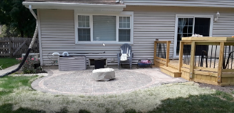 Wood Deck with Belgard Paver Patio by Lisle, IL Deck and Patio Designer, Archadeck of Chicagoland. Thumbnail