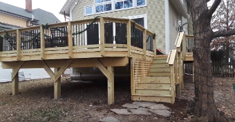 Elevated Wood Deck by Glen Ellyn, IL Deck Designer. Thumbnail