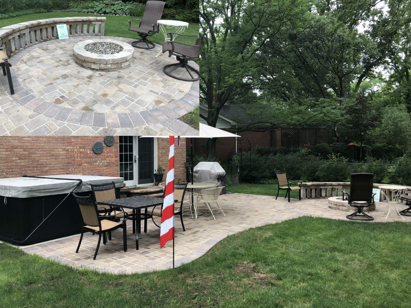 Belgard Cambridge Cobble Patio with fire pit in Wilmette, IL  Thumbnail