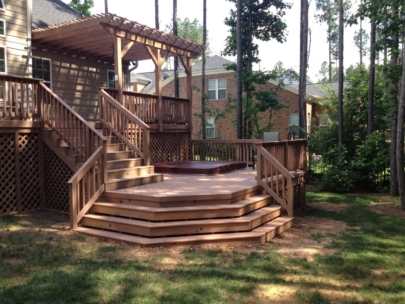 Raleigh multi level decking more than just a beautiful for Split level garden decking