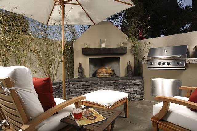outdoor kitchens and fireplaces for backyard retreats