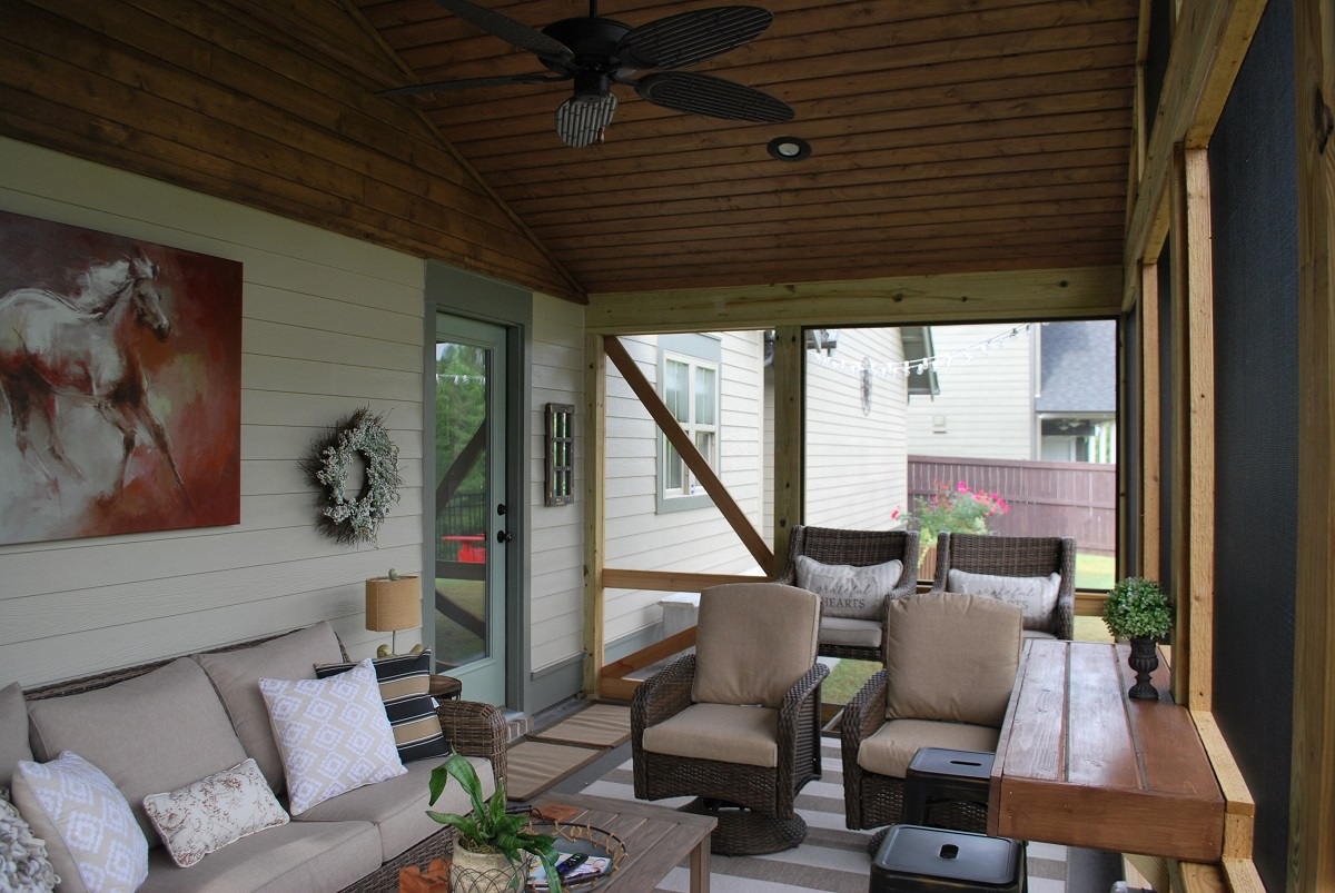 Must See Farmhouse Inspired Screened Porch Transformation