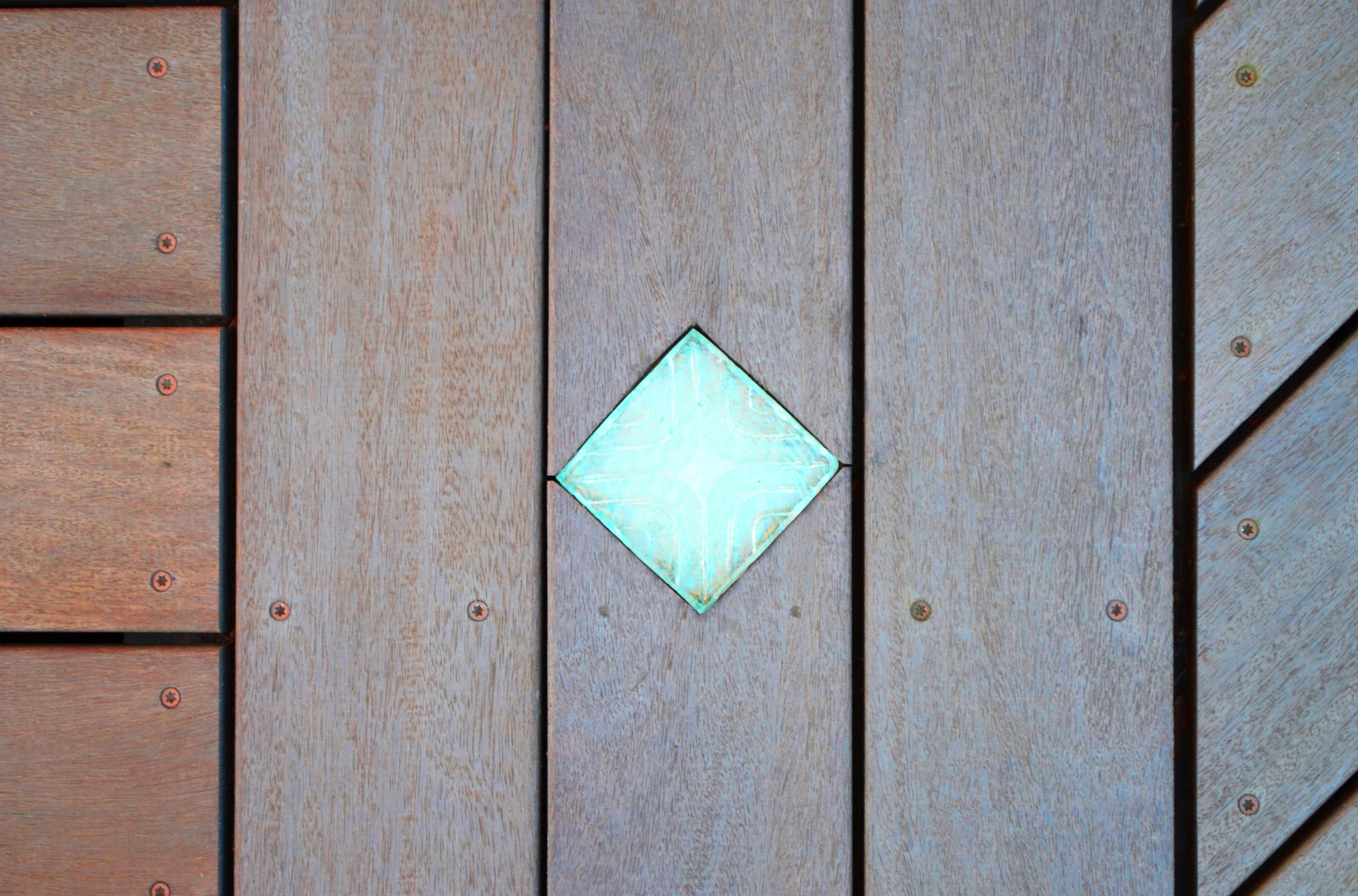 Close-up view of porch light.