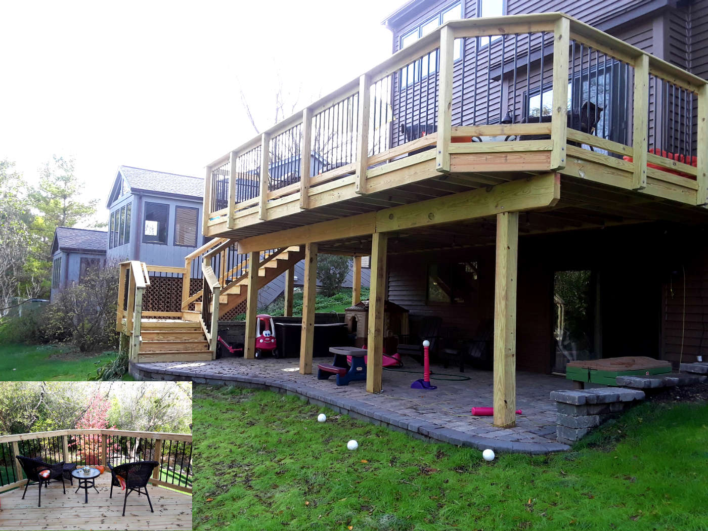 Multi Level Wood Deck And Belgard Paver Patio Design By Woodridge, IL Deck  Designer Thumbnail