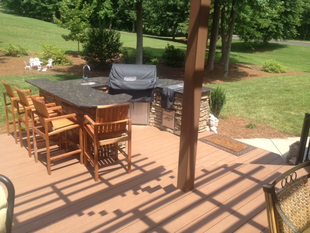 Winston Salem AZEK deck and outdoor kitchen