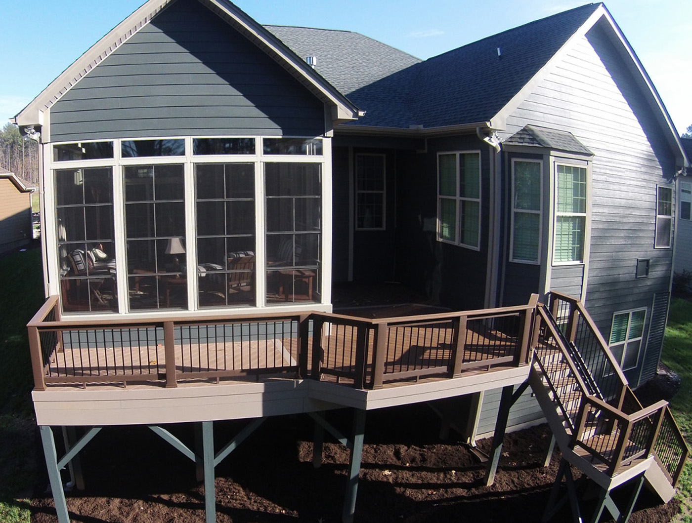 Wake Forest Elevated Deck With Eze Breeze Porch