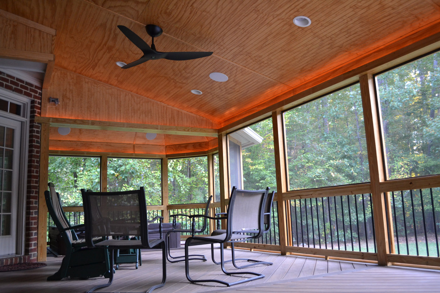 Archadeck of raleigh durham and earthstone recycled for Shed roof screened porch