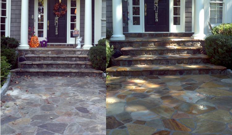 Not Only Did We Clean And Seal This Flagstone Hardscape Entrance But We  Also Enhanced The Color Bringing Out All The Natural Hues That Make  Flagstone So ...