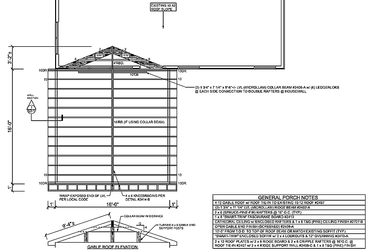 screened porch roof framing