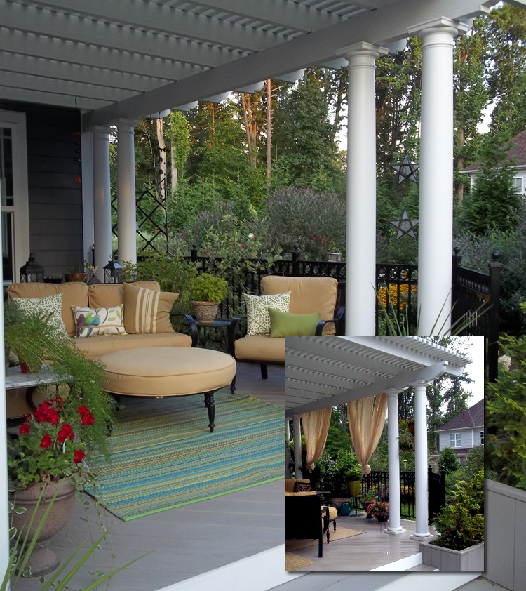aluminum porch pergola with curtains