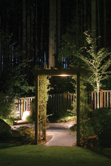 Landscape Lighting highlights pergola